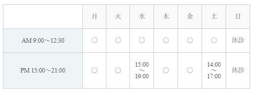 肩こり・腰痛専門の田口整骨院|営業時間表